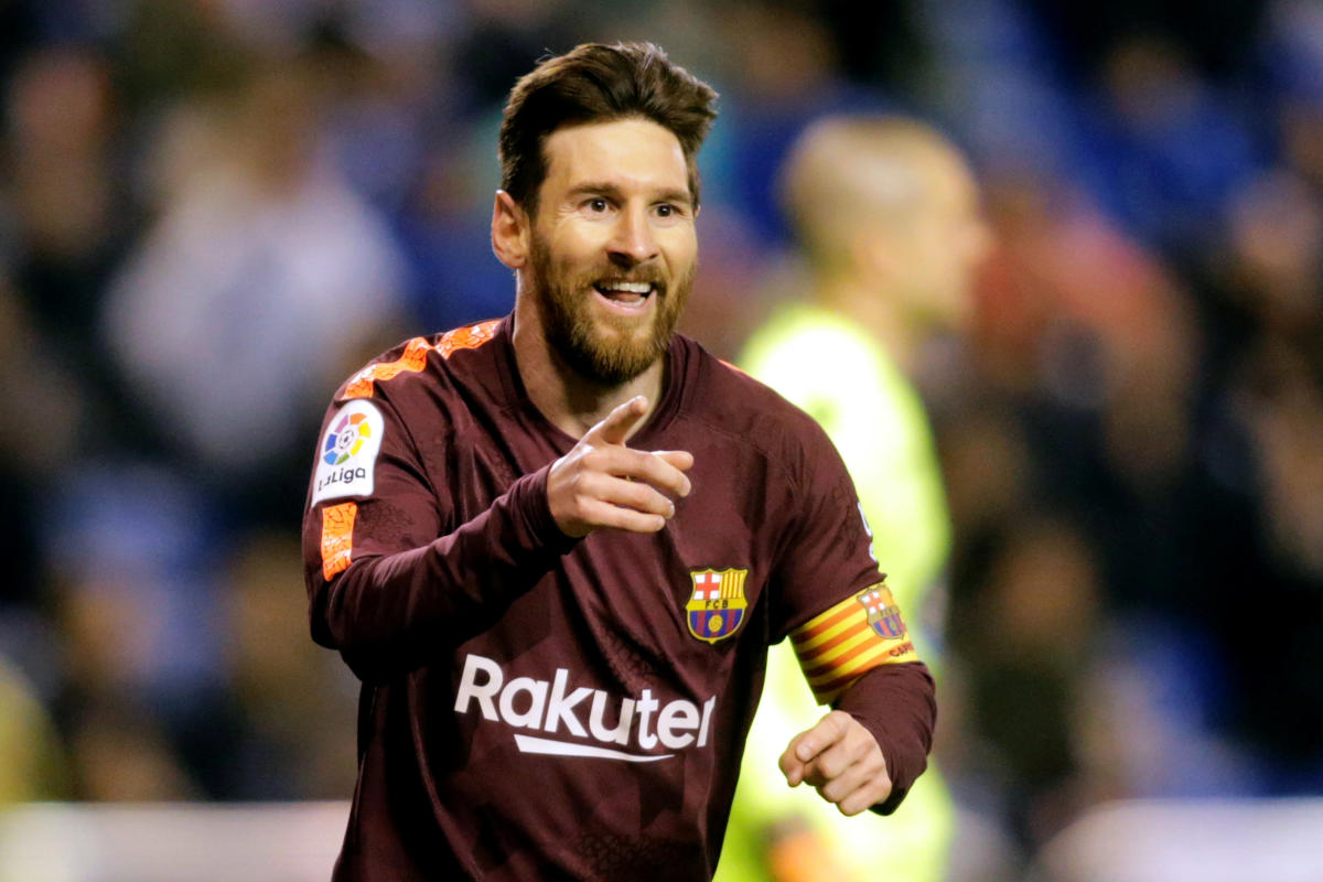 UNSTOPPABLE Barcelona's Lionel Messi celebrates after completing his hat-trick against Deportivo La Coruna on Sunday. REUTERS