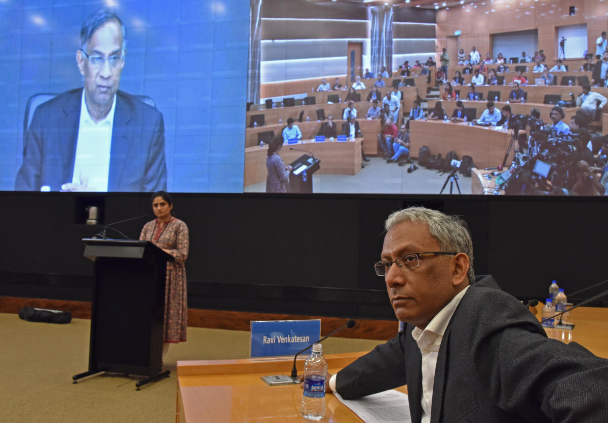 R Seshasayee, Former Chairman Infosys speaking in video conference at a press conference, at Infosys Corporation Headquarters in Bengaluru on Friday. Ravi Venkatesan, Co Chairman Infosys is seen. Photo by S K Dinesh