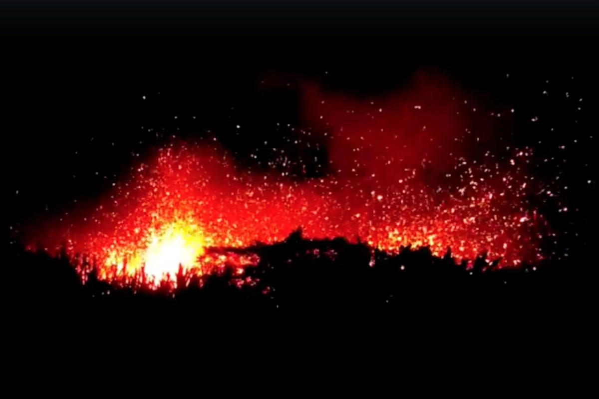 Lava spews from Hawaii's Kilauea volcano in this still image taken from a May 13, 2018 video obtained from social media. MANDATORY CREDIT. Josh Doran/via REUTERS