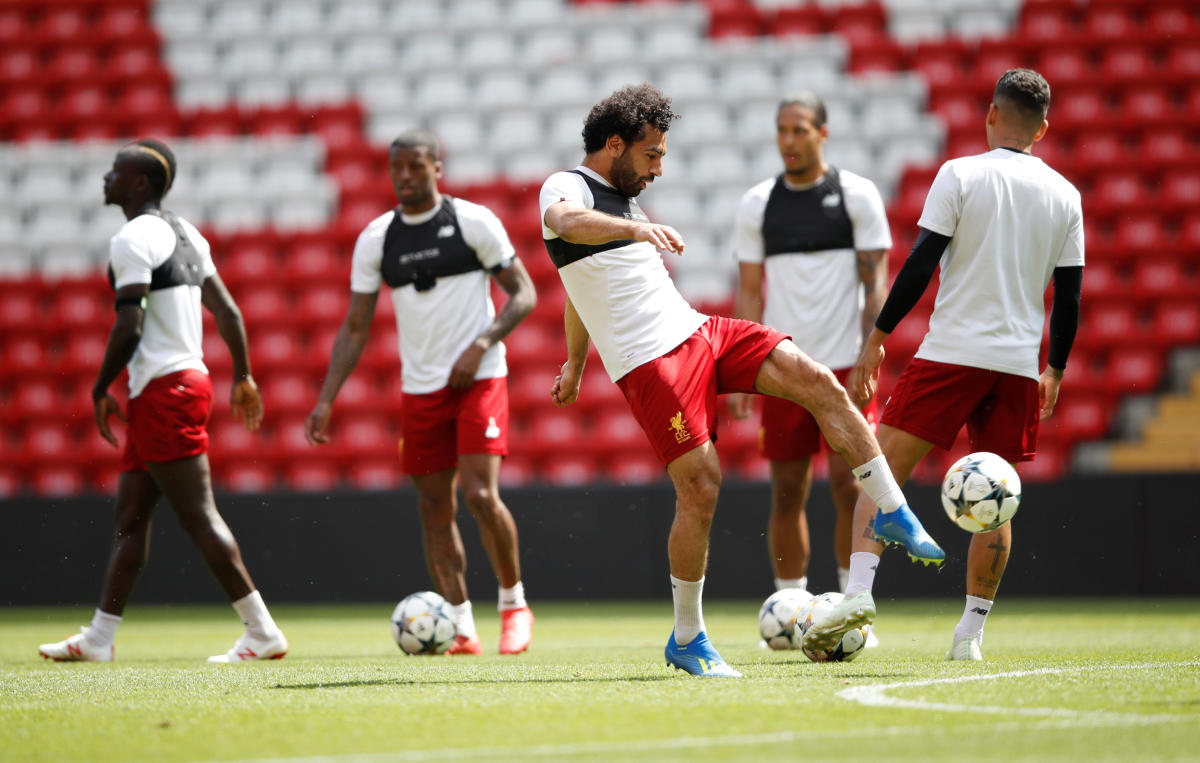 Liverpool's Mohamed Salah during training Action. Reuters