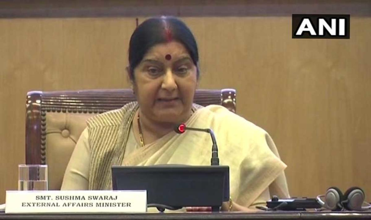 """The government has achieved """"unprecedented outreach and unparalleled outcome"""" at the global stage in the last four years, External Affairs Minister Sushma Swaraj said today. Picture courtesy ANI"""