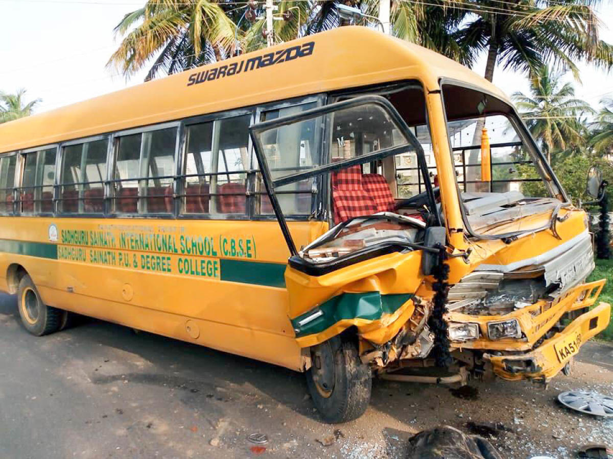 Ten kids miraculously escaped after a speeding SUV collided to a school van in Kallahalli village near Anekal on Monday morning. The school van was heading towards Sarjapura road and the SUV came in opposite direction crashed into the bus. The SUV driver