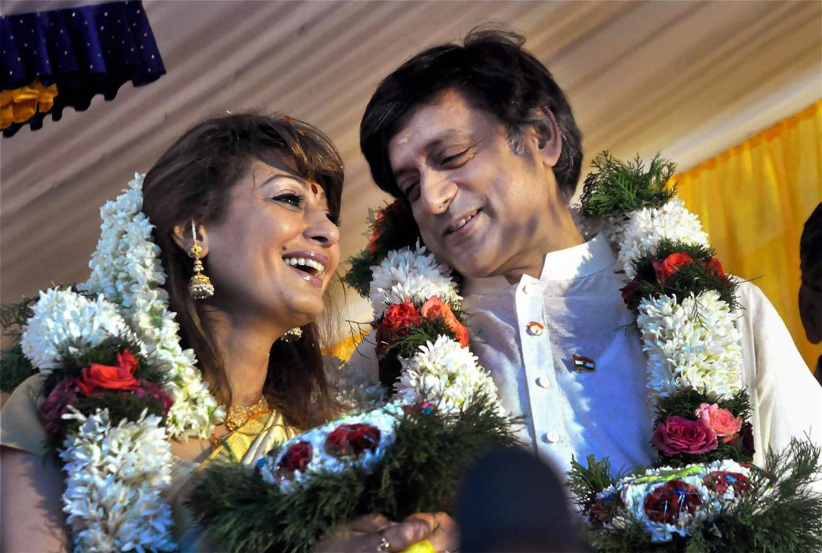 This photo dated August 22, 2010, shows Congress MP Shashi Tharoor with wife Sunanda Pushkar at his ancestral home in Palakkad district of Kerala. PTI
