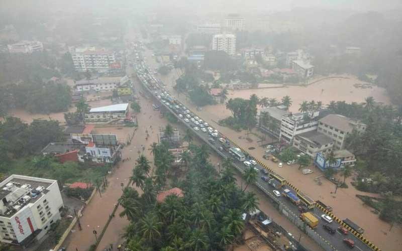 An aerial view of the flooded Kottarachowki in Mangaluru following heavy rain on Tuesday. DH Photo