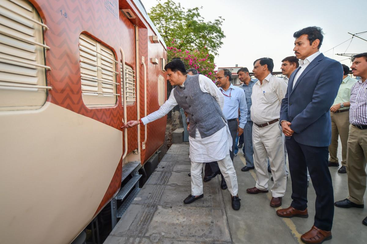 Railway Minister Piyush Goyal visits New Delhi Railway Station to check trial colour schemes for trains in New Delhi on Wednesday. PTI
