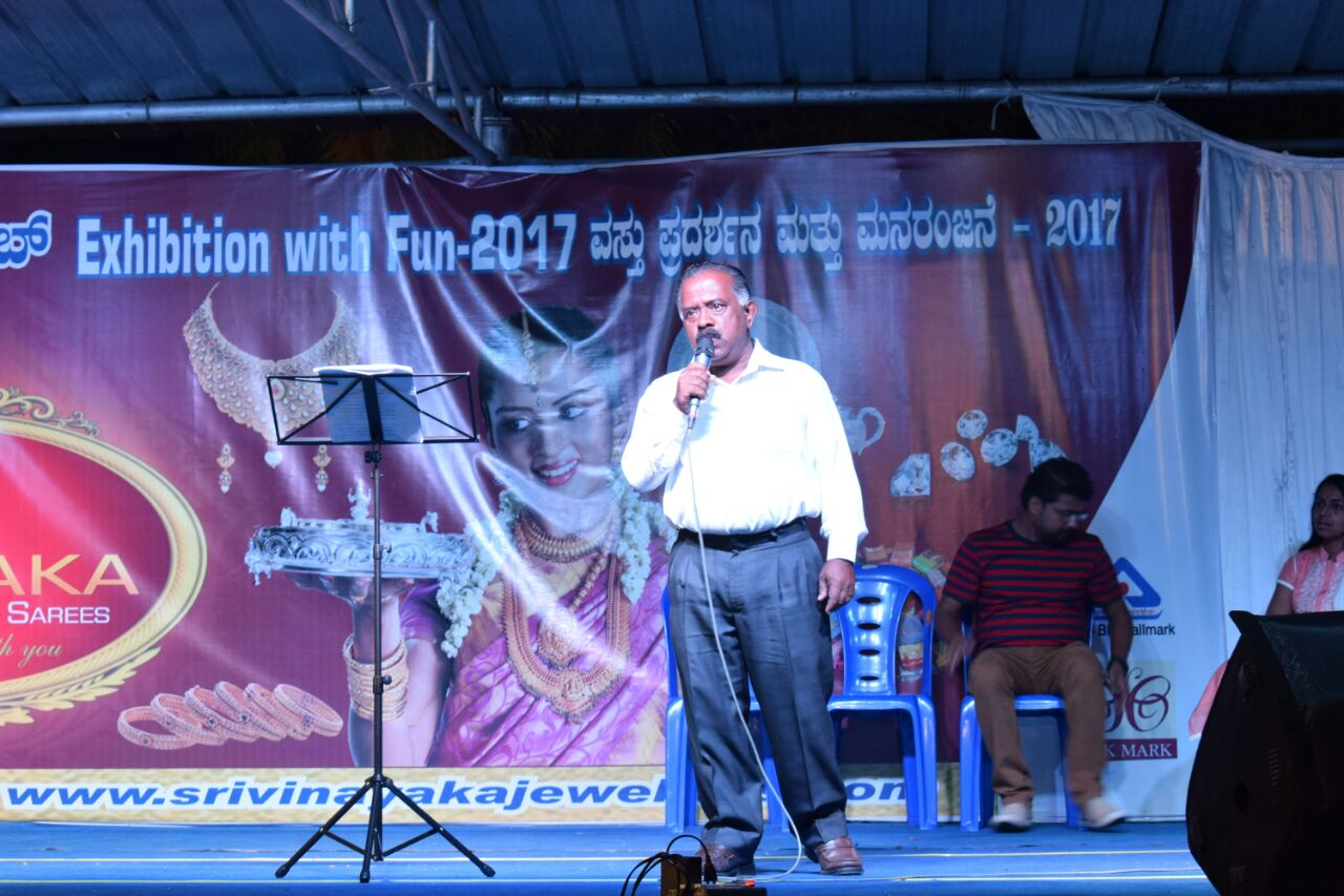 Mohan Kumar performing at an exhibition.