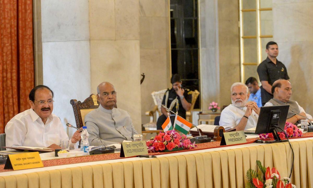 Vice President M Venkaiah Naidu with President Ram Nath Kovind, Prime Minister Narendra Modi and Home Minister Rajnath Singh during the second day of the Conference of Governors at the Rashtrapati Bhavan, in New Delhi on Tuesday. PTI