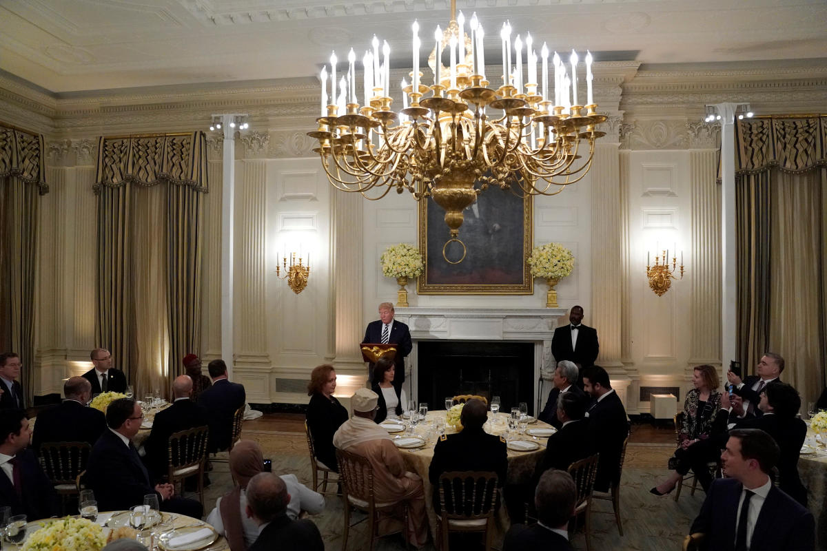 U S President Donald Trump speaks at the start of an Iftar dinner at the White House in Washington, U S, June 6, 2018. (REUTERS/Joshua Roberts)