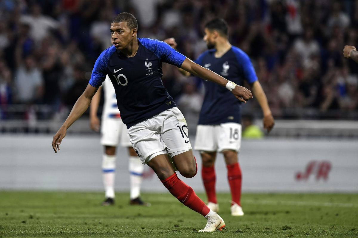 France's forward Kylian M'Bappe celebrates after scoring against USA in a friendly on Saturday. AFP