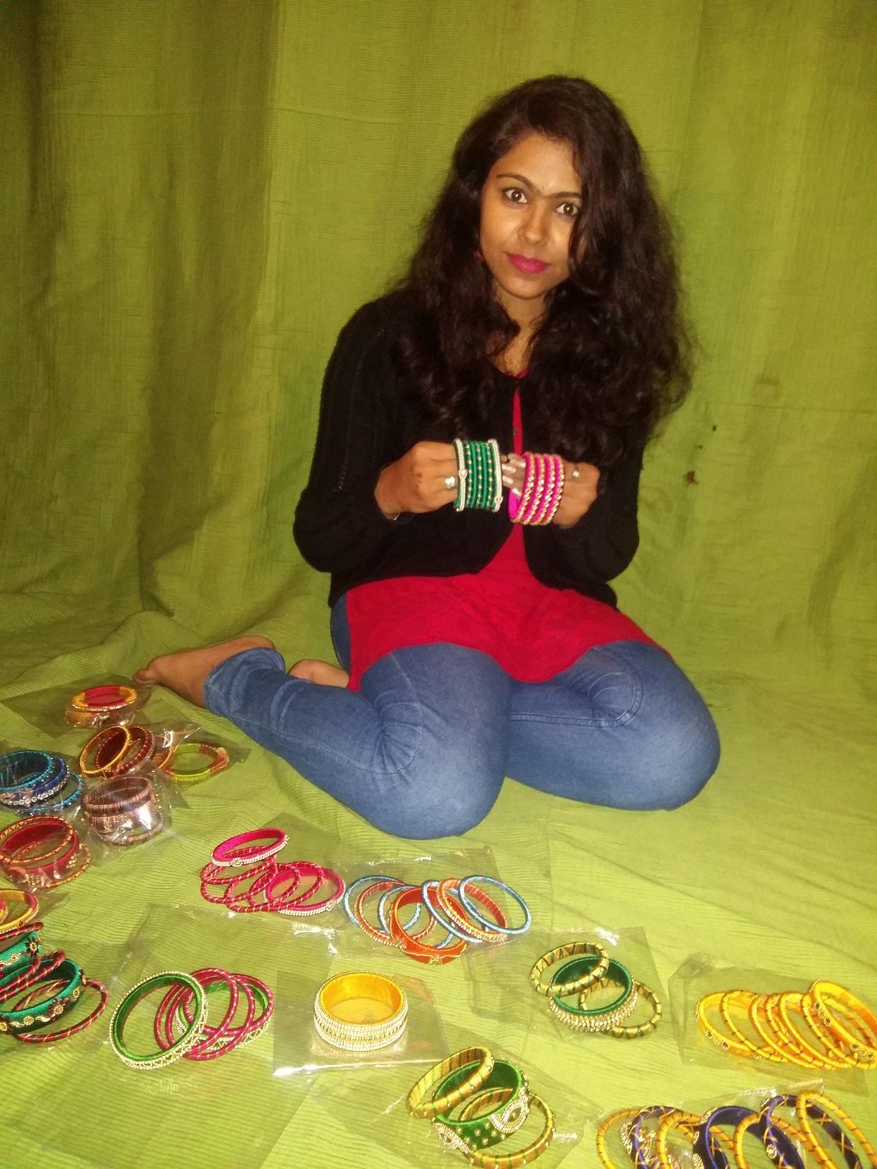 Ritu Chopra with some of her works