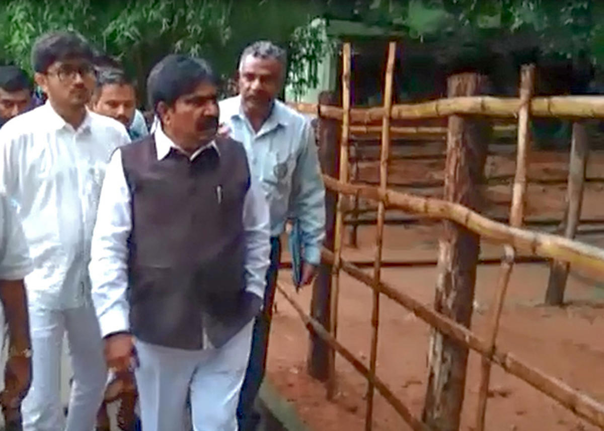 Minister R Shankar during a surprise visit to the Bannerghatta Biological Park on Sunday.