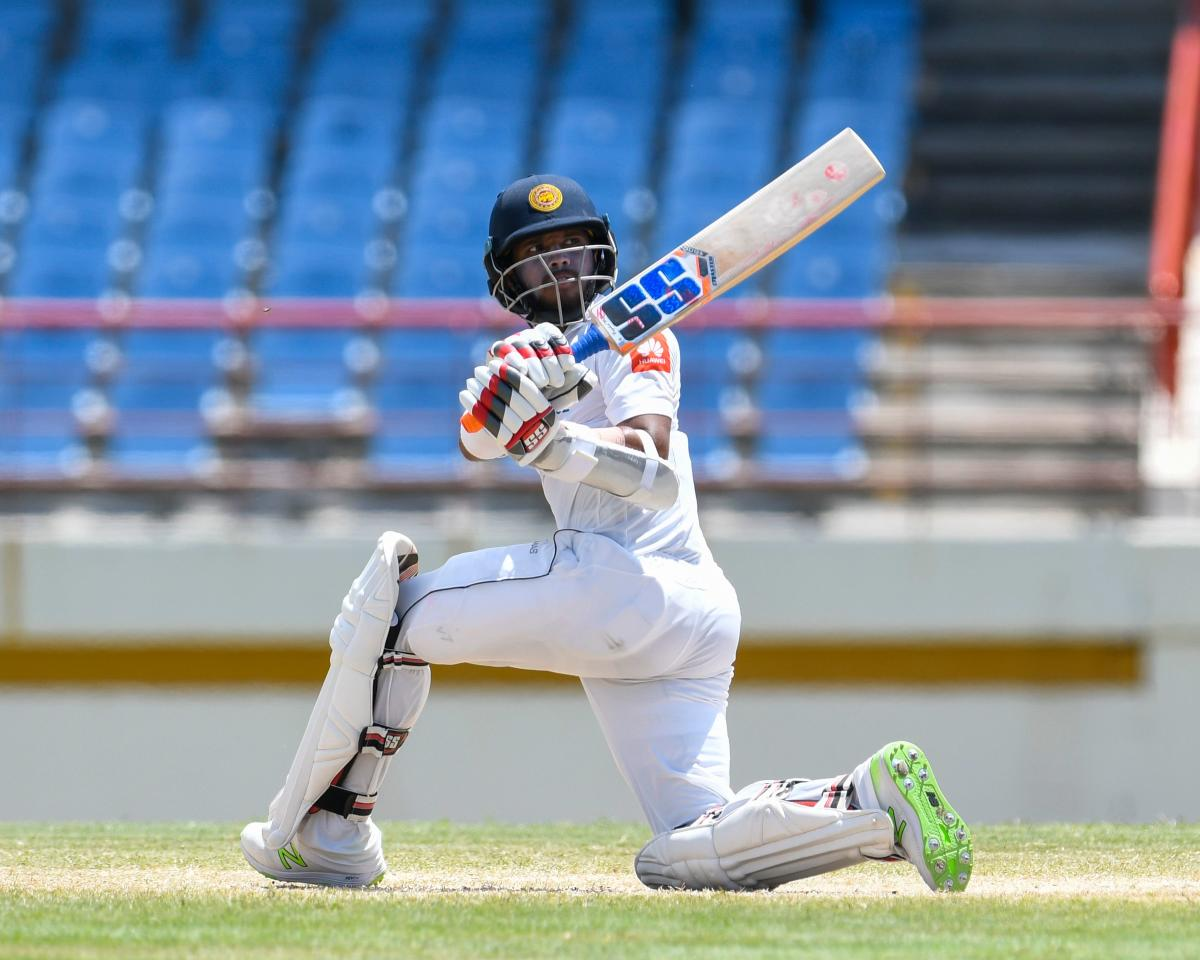Kusal Mendis of Sri Lanka hits a boundary during his innings of 87 against the West Indies at Gros Islet, St. Lucia, on Sunday. (AFP Photo)