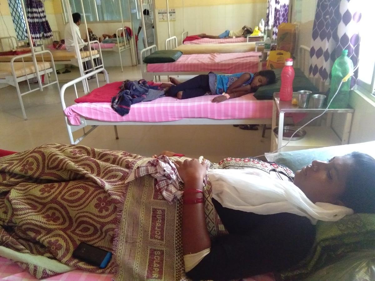 Patients undergo treatment at Government Hospital in Tarikere.