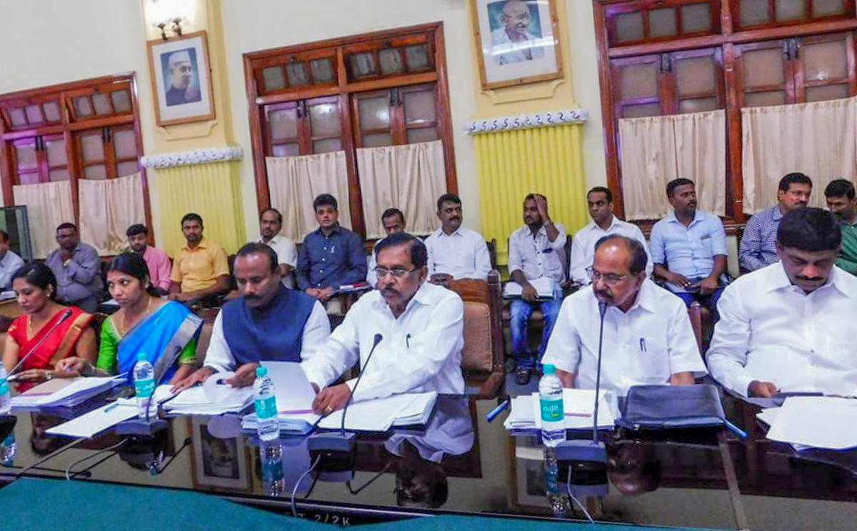 Deputy Chief Minister G Parameshwara (centre) during a meeting with the city legislators, MPs and officials at the Vidhana Soudha on Monday.