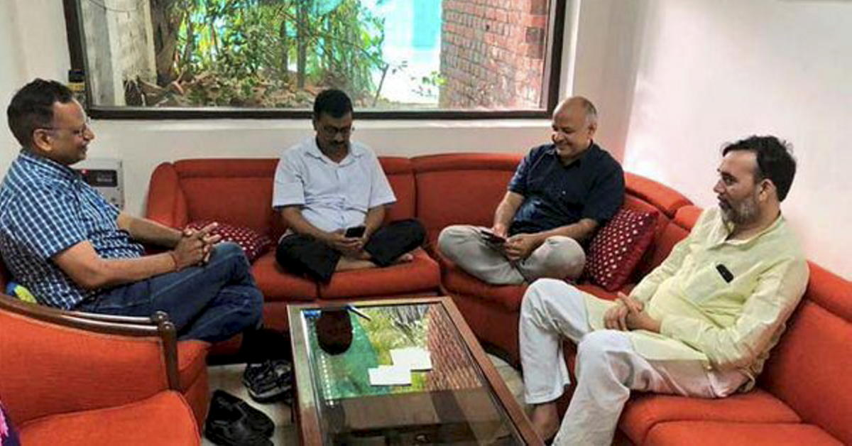 Delhi Chief Minister Arvind Kejriwal, Deputy CM Manish Sisodia, Aam Aadmi Party (AAP) leaders Satyendra Kumar Jain and Gopal Rai during a sit-in protest at Lieutenant Governor Anil Baijal's residence, in New Delhi on Sunday. PTI file photo