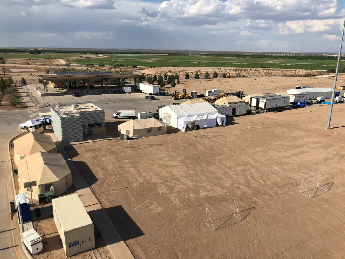 The Tornillo facility, a shelter for children of detained migrants, is seen in this photo provided by the U S Department of Health and Human Services, in Tornillo, Texas on Thursday. (ACF/HHS/Handout via REUTERS)