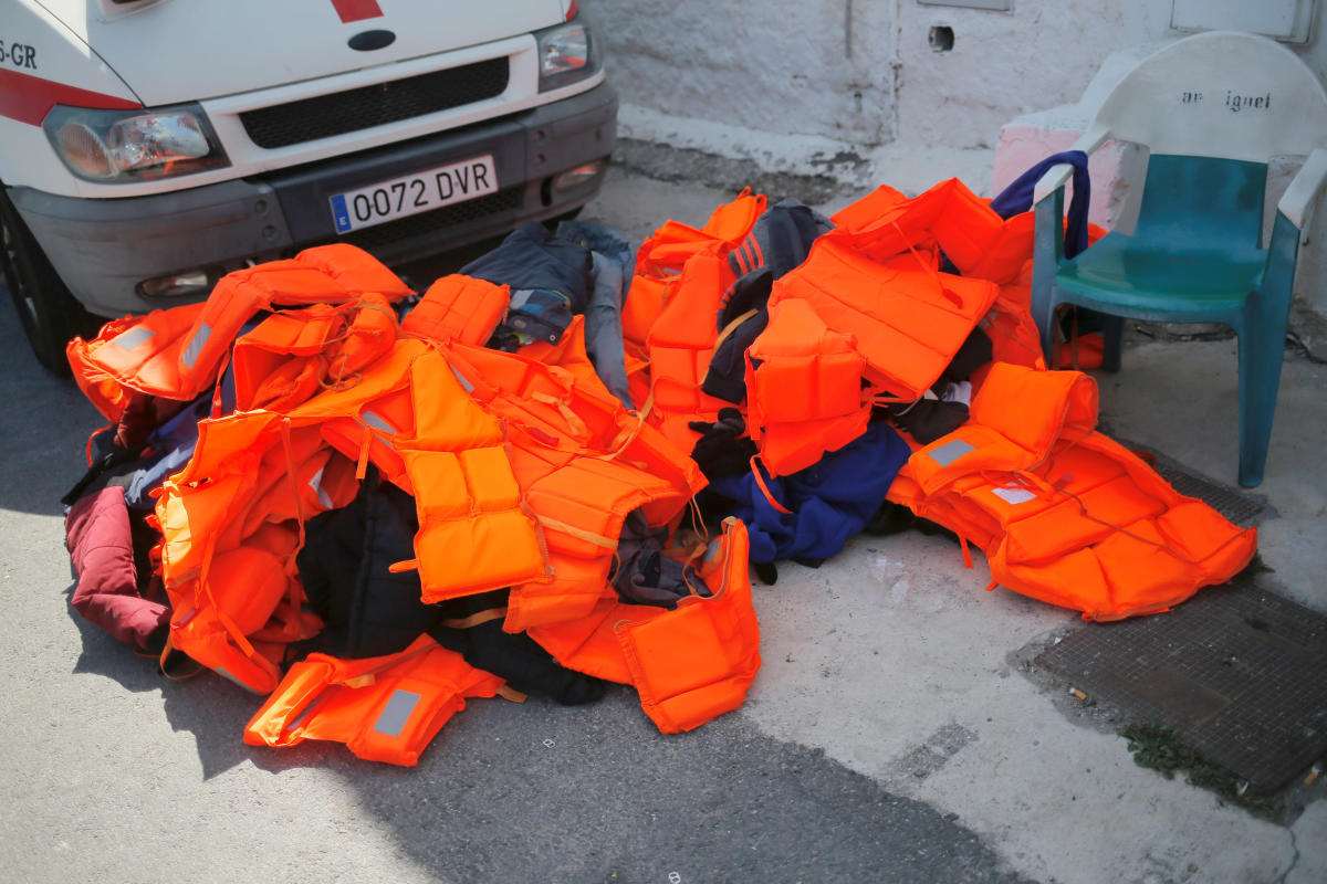 Life-vests of migrants, part of a group intercepted aboard two dinghies off the coast in the Mediterranean Sea, are seen on the floor after arriving on a rescue boat at the port of Motril, Spain June 21, 2018. (REUTERS/Jon Nazca)