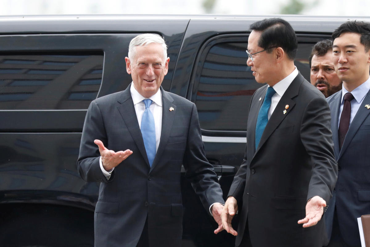US Defence Secretary Jim Mattis is greeted by his South Korean counterpart Song Young-moo upon his arrival at the Defence Ministry in Seoul, South Korea. (Reuters Photo)