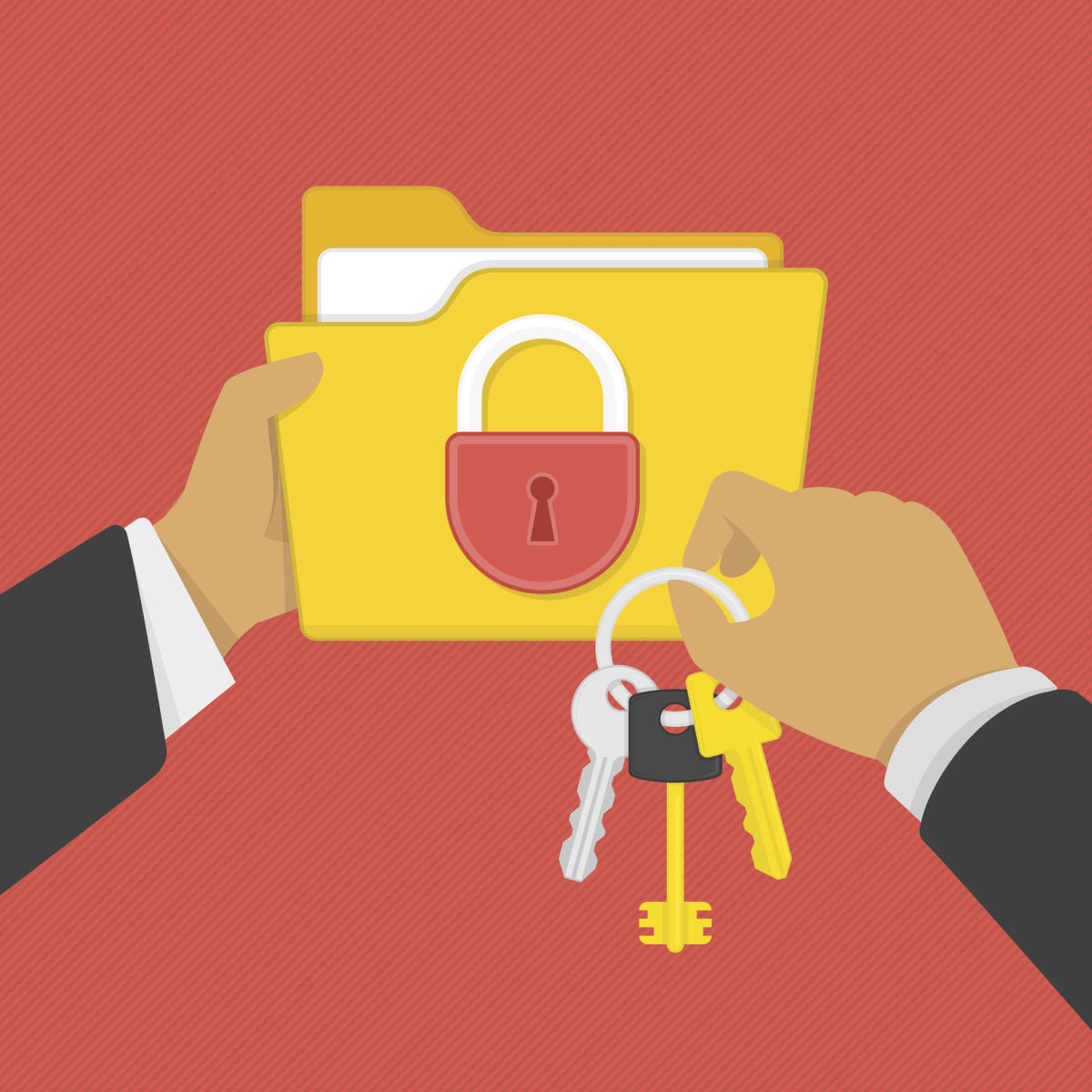 Flat illustration of security center. Yellow folder with lock and keys in the hands of man. Data protection, internet security flat illustration concepts.data