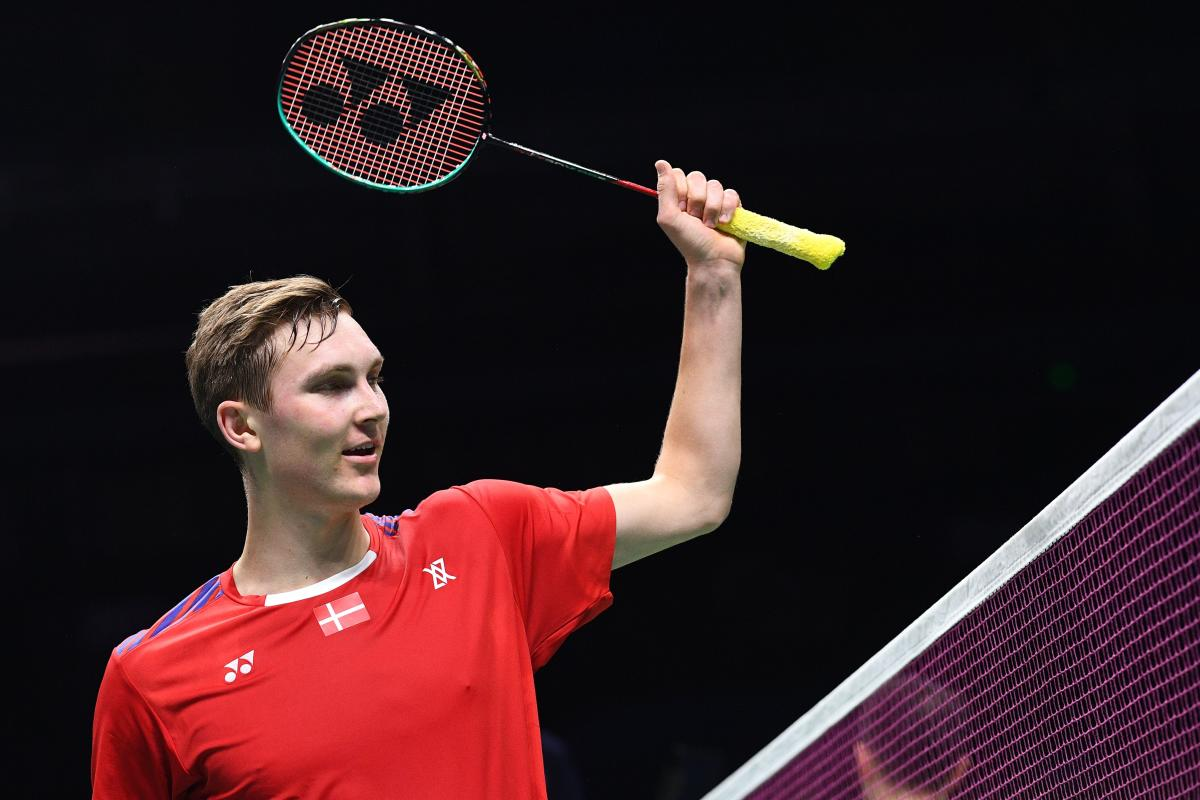 Denmark's Viktor Axelsen gestures reacts after beating Ng Ka Long Angus of Hong Kong in their men's singles match on Thursday. AFP