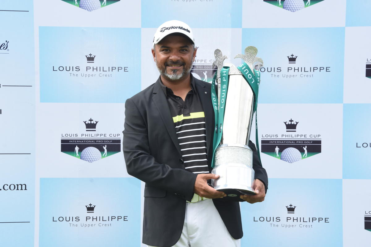 Rahil Gangjee after clinching the Louis Philippe Cup at Prestige Golfshire Club on Friday.