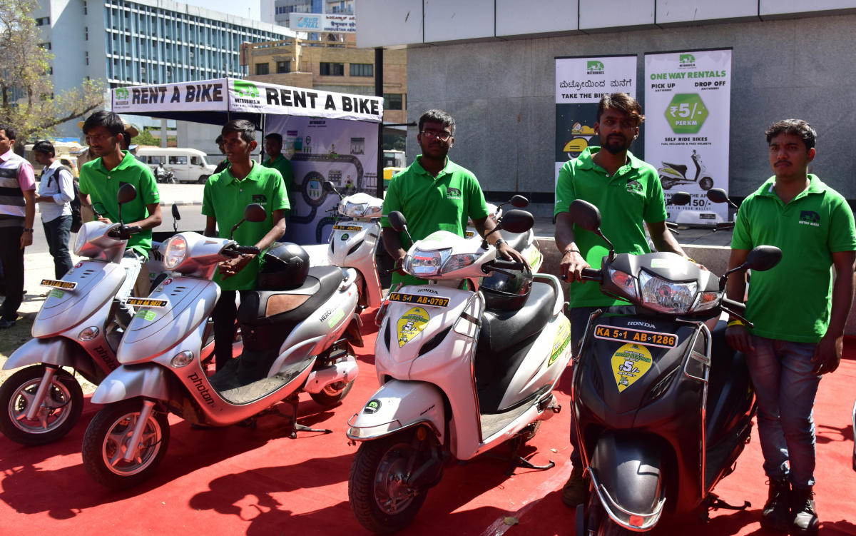 A bike taxi service that was launched at the metro stations earlier this year. DH file photo
