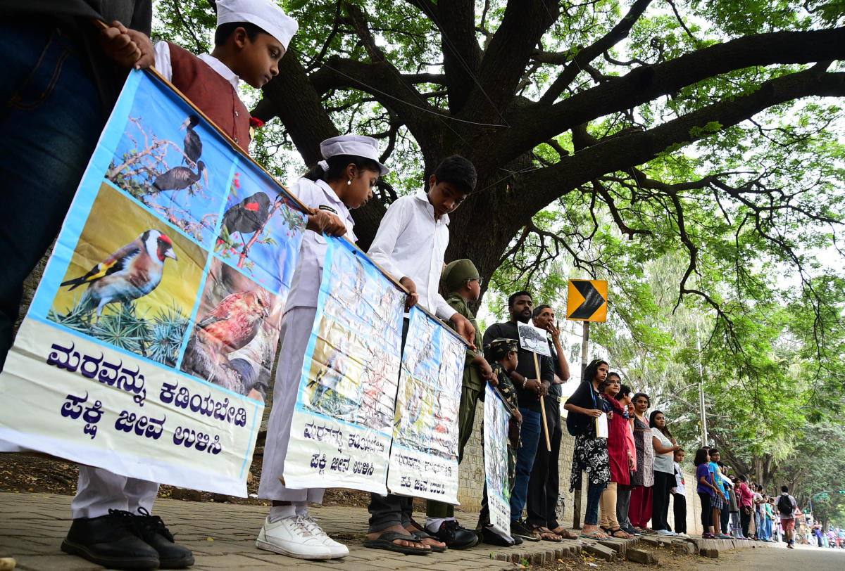 Citizens crated the human chain against the cutting of trees for the signal free corridor at HAL airport road in Bengaluru on Sunday.-Photo/ Krishnakumar P S