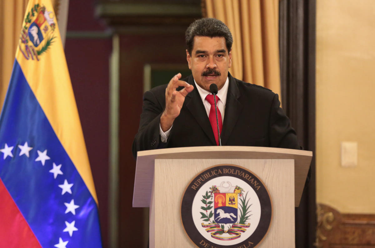 Venezuela's President Nicolas Maduro speaks during a meeting with government officials at the Miraflores Palace in Caracas, Venezuela, August 4, 2018. Miraflores Palace/Handout via Reuters.