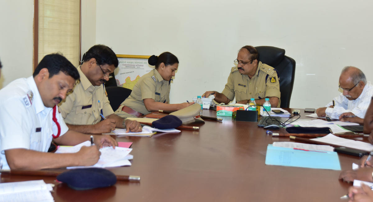 City Police Commissioner T R Suresh during phone in programme in Mangaluru on Friday.
