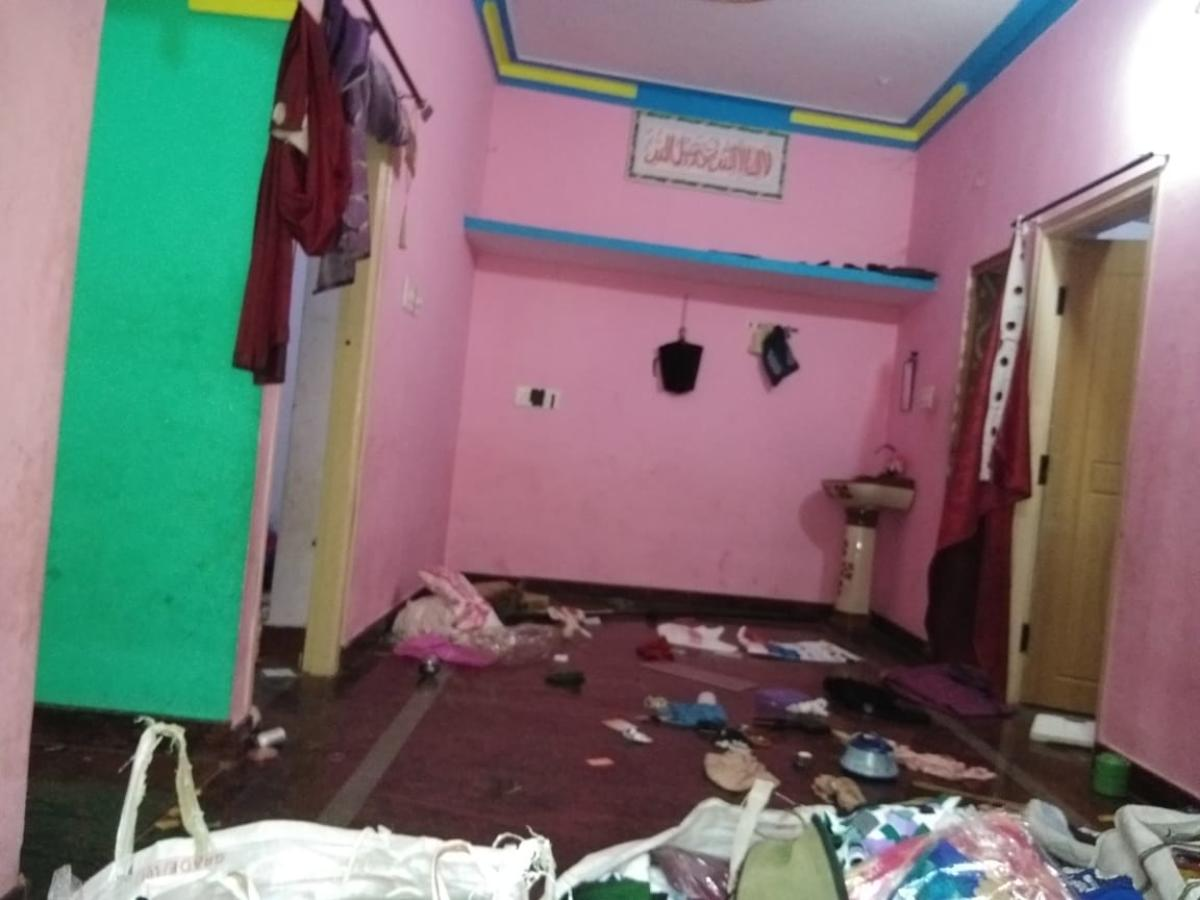 Suspect Muneer's house in Ramanagaram that was vandalised during the raid.