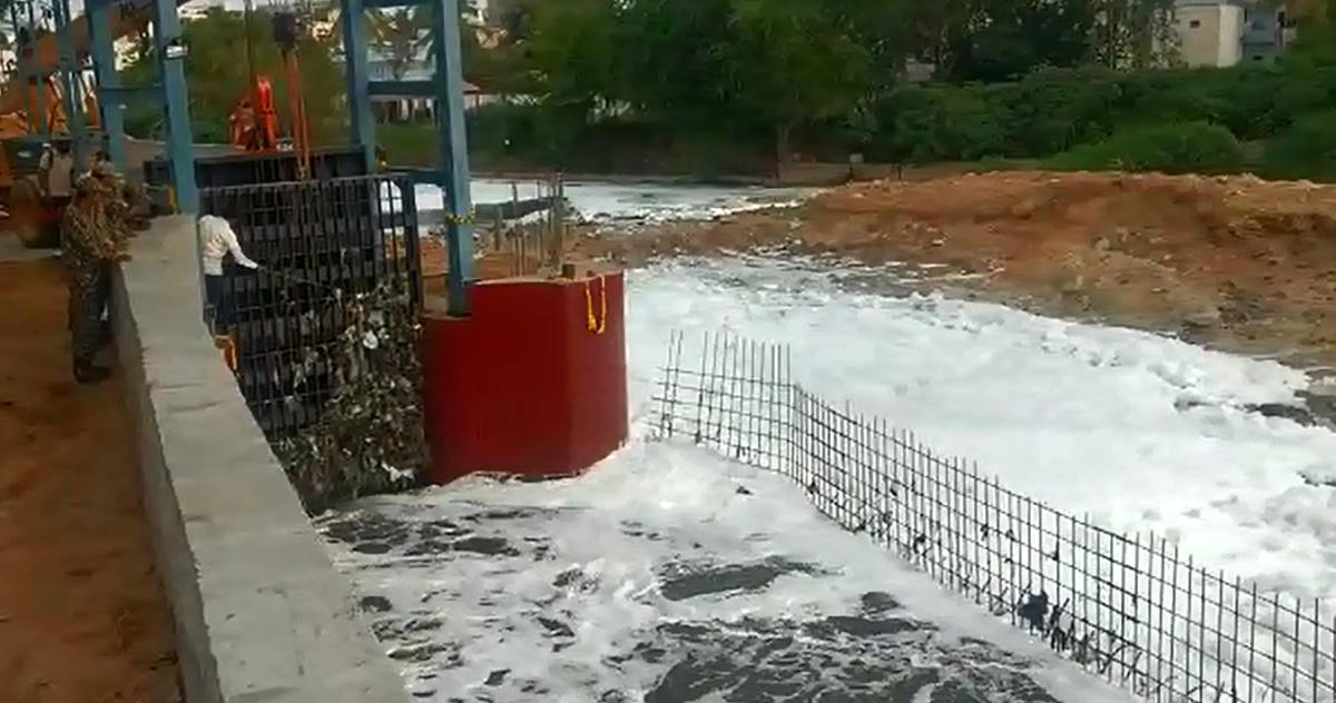 The sluice gate set up at Bellandur Kodi to check thefrothing in the city's largest lake.