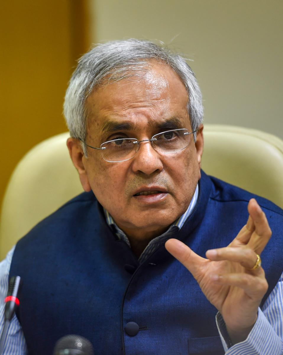 NITI Aayog Vice Chairman Rajiv Kumar addresses the media after the 4th meeting of Governing Council of NITI Aayog. PTI file photo
