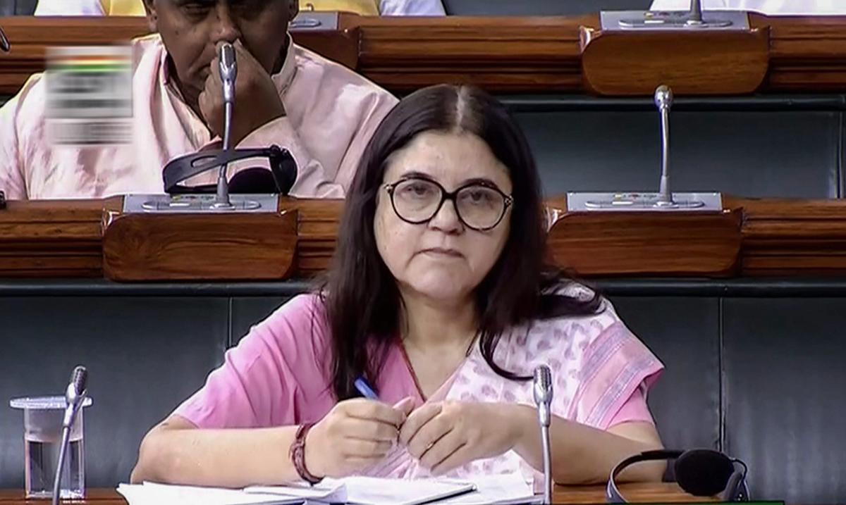 New Delhi: Union Minister for Women and Child Development Maneka Sanjay Gandhi attends the Monsoon session of Parliament in the Lok Sabha, in New Delhi on Thursday, July 26, 2018. (LSTV GRAB via PTI)(PTI7_26_2018_000110B)