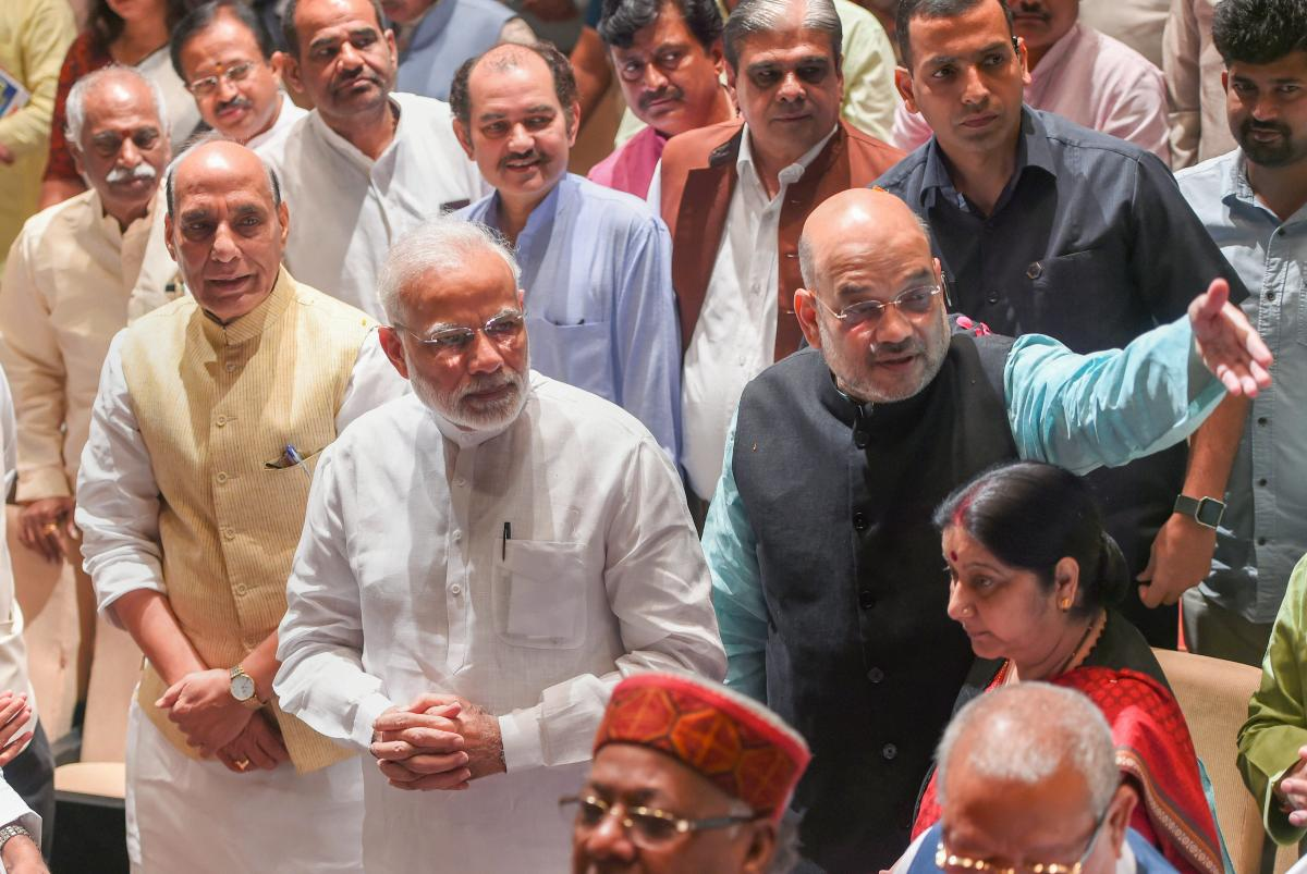 Prime Minister Narendra Modi, party president Amit Shah and Rajnath Singh during BJP Parliamentary Party meeting at Parliament House, in New Delhi. PTI file photo