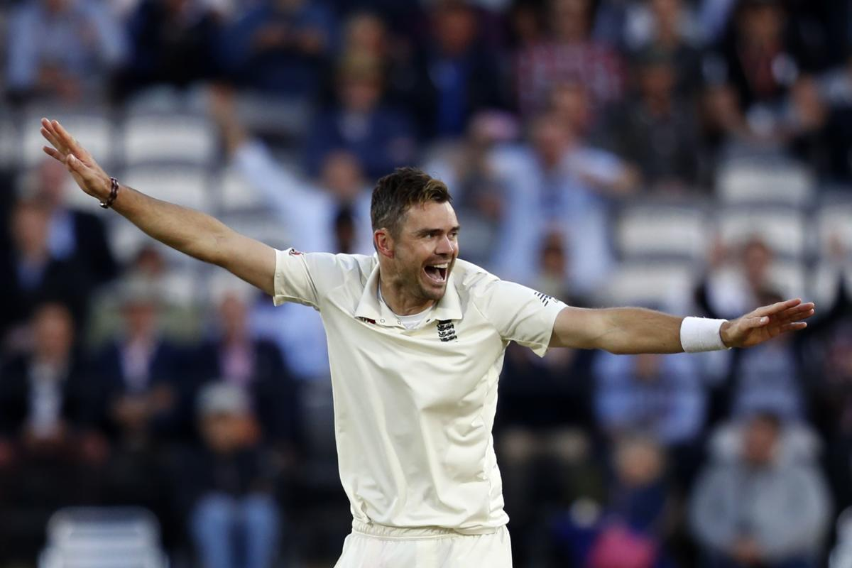 England's James Anderson celebrates after dismissing India's Ishant Sharma on the second day of the second Test at Lord's in London on Friday. AFP