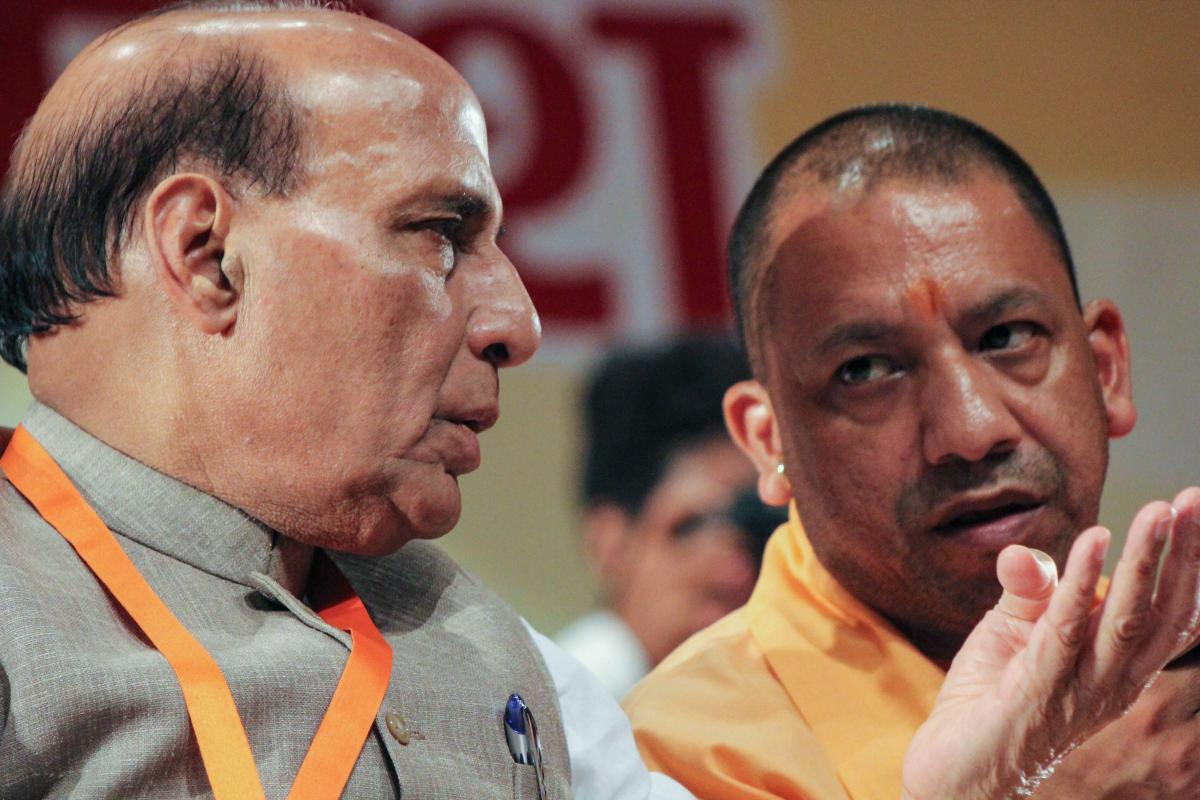 Union Home Minister Rajnath Singh and Uttar Pradesh Chief Minister Yogi Adityanath during the State BJP Working Committee meeting in Meerut on Saturday. PTI