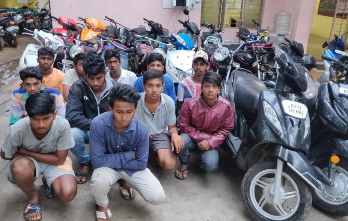 The 11 riders arrested by the Kumaraswamy Layout traffic police for performing wheelies on NICE Road on Sunday.