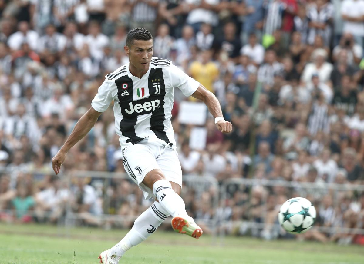uventus' Cristiano Ronaldo scores during their friendly game against Juventus B at Villar Perosa on Sunday. AFP