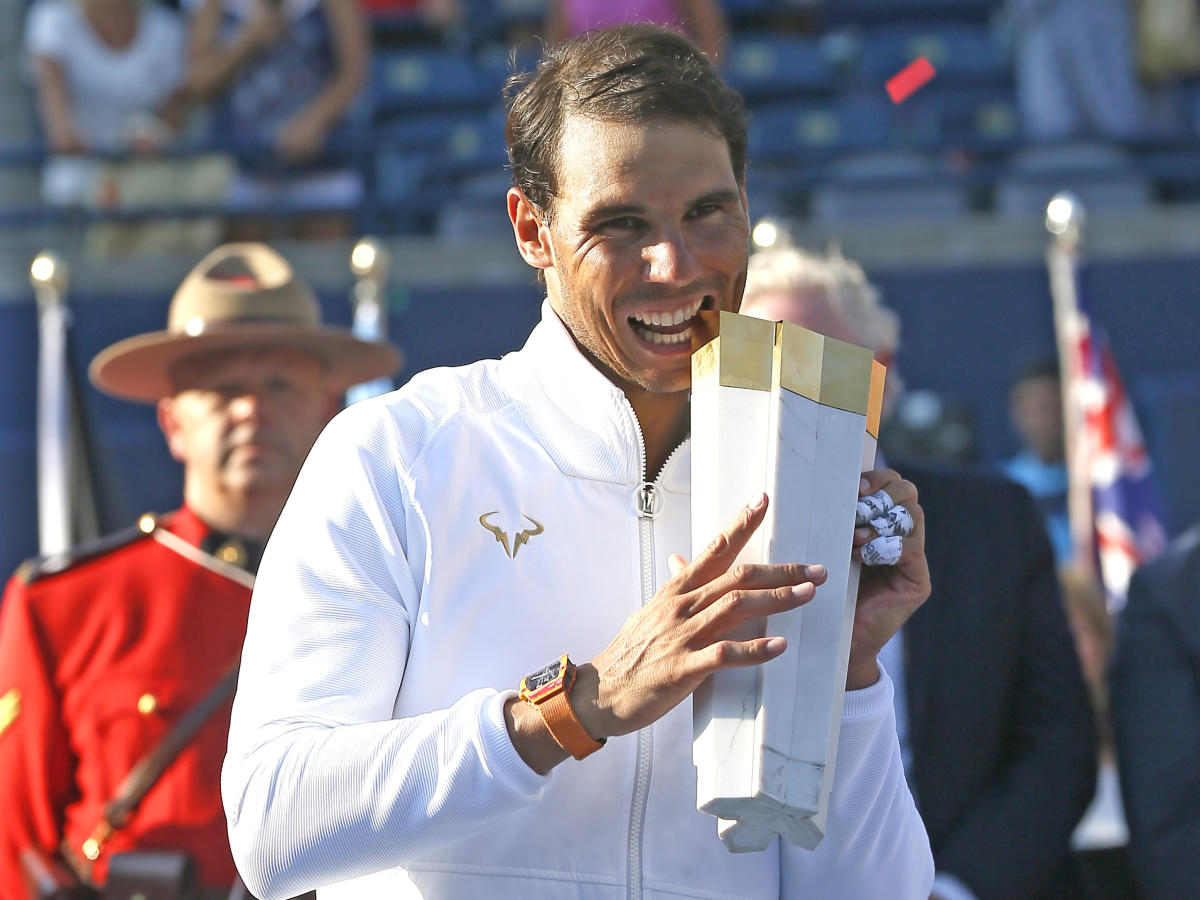 Rafael Nadal with the Rogers Championship trophy after beating Greek youngster Stefanos Tsitsipas in the men's singles final. USA Today