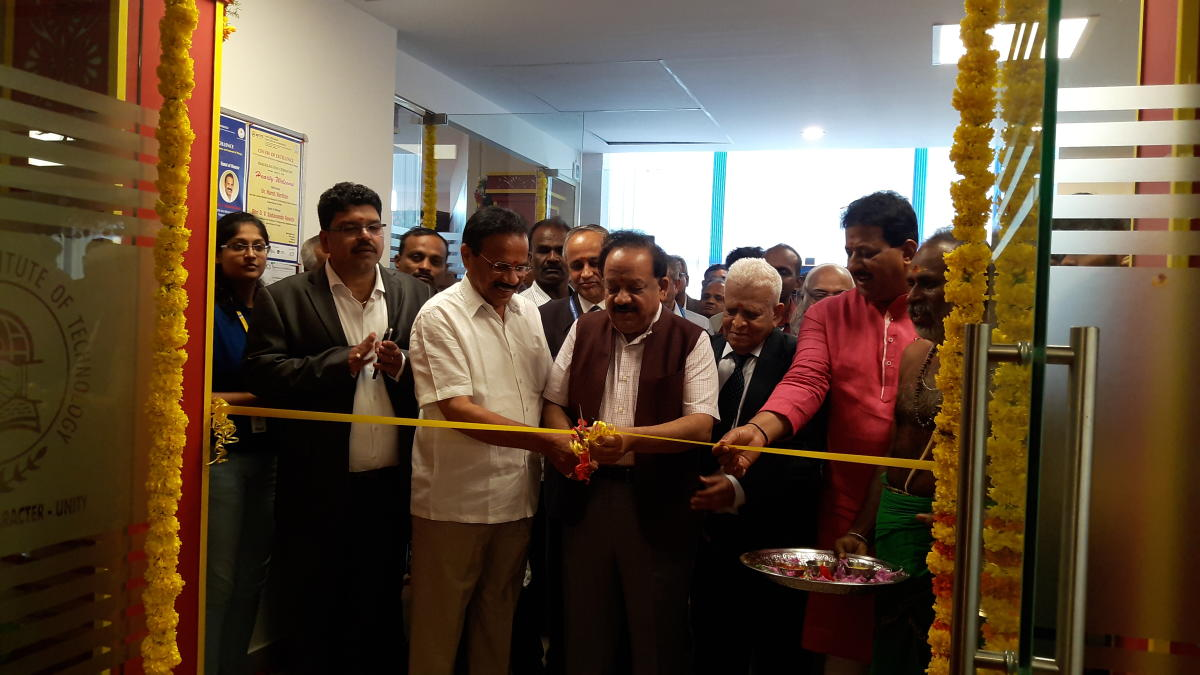 Union Minister for Science and Technology and Earth Sciences Dr Harsh Vardhan (centre) inaugurates the Centre of Excellence in aerospace engineering and internet of things at NMIT along with DV Sadananda Gowda, Union minister for statistics and programme implementation.