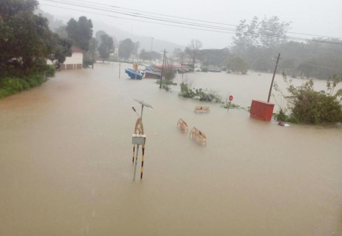 The inundated Triveni Sangama at Bhagamandala in Madikeri.