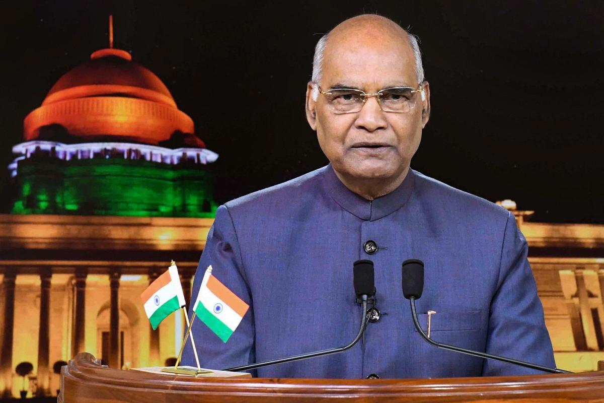 President Ram Nath Kovind delivers President's Address to the Nation on the eve of 72nd Independence Day, at Rashtrapati Bhawan in New Delhi on Tuesday. PTI