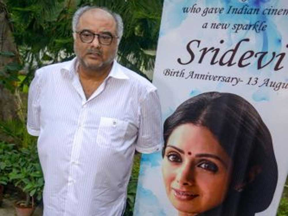 Producer Boney Kapoor looks on during an event to commemorate the birth anniversary of his wife and Bollywood actor Sridevi, at Film Division, in New Delhi on Monday. PTI photo