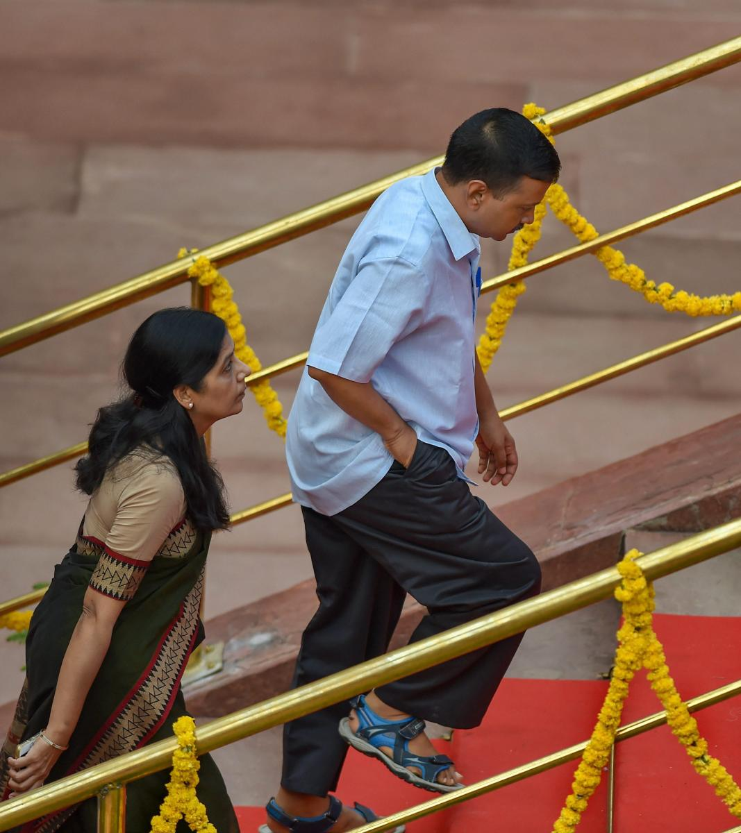 Delhi Chief Minister Arvind Kejriwal and his wife Sunita Kejriwal arrive to attend the 72nd Independence Day celebrations at the historic Red Fort, in New Delhi on Wednesday, August 15, 2018. PTI Photo