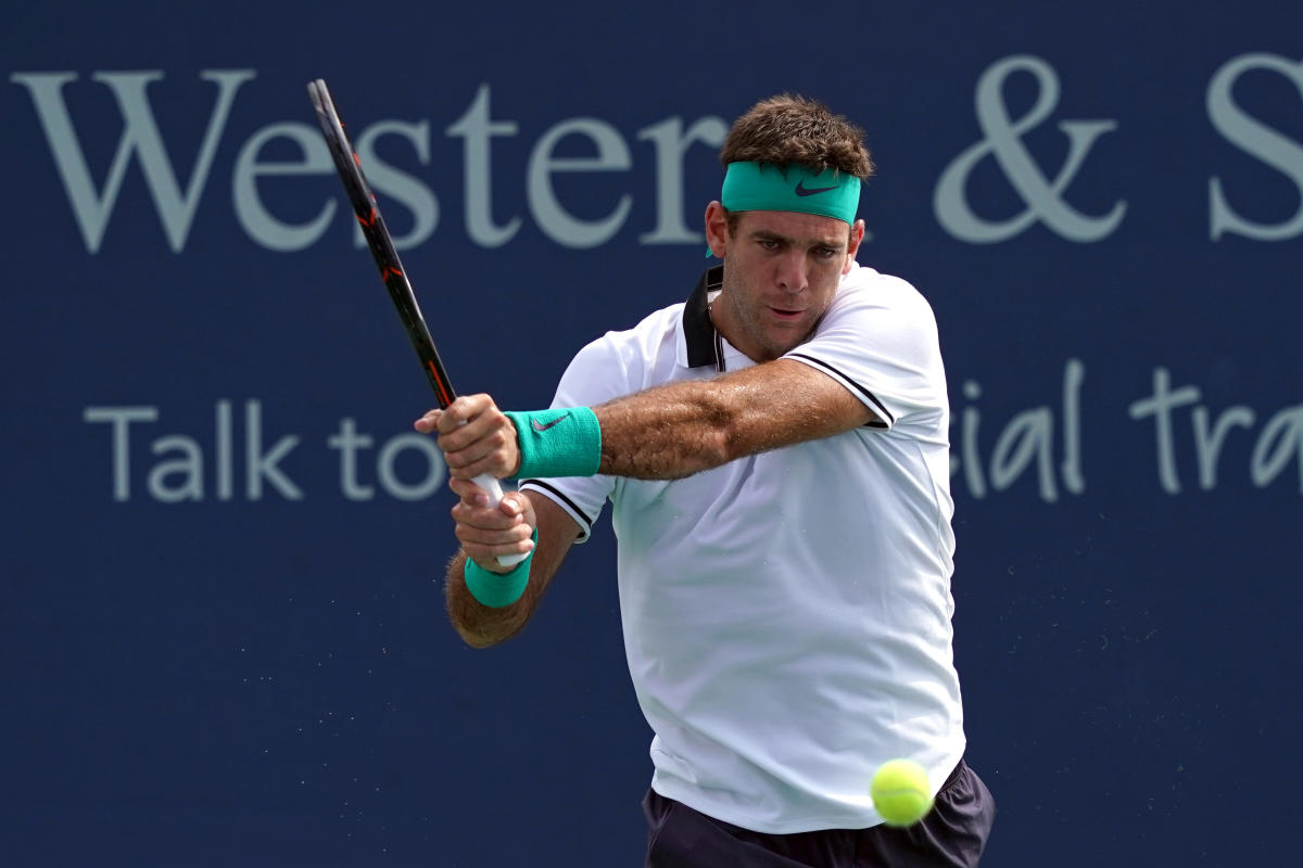POWERFUL: Juan Martin del Potro of Argentina returns during his win over Chung Hyeon of Korea.
