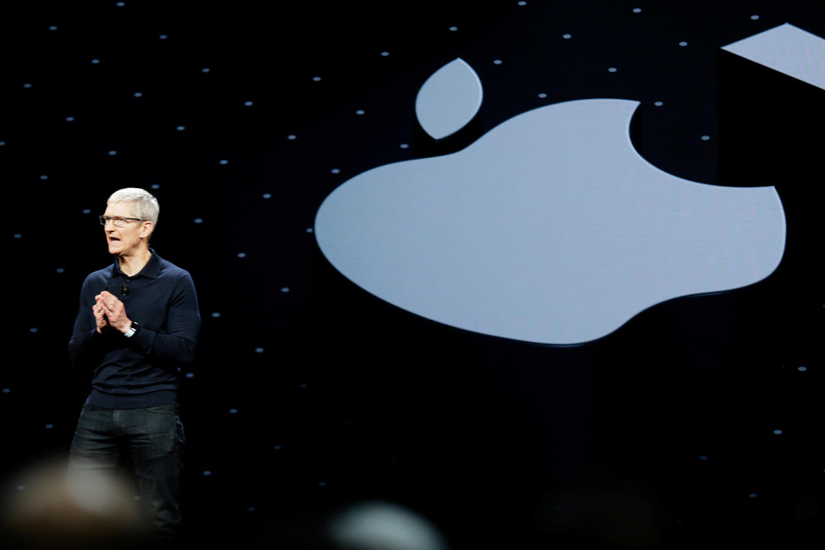 Apple Chief Executive Officer Tim Cook speaks at the Apple Worldwide Developer conference (WWDC) in San Jose, California, on June 4, 2018. Reuters