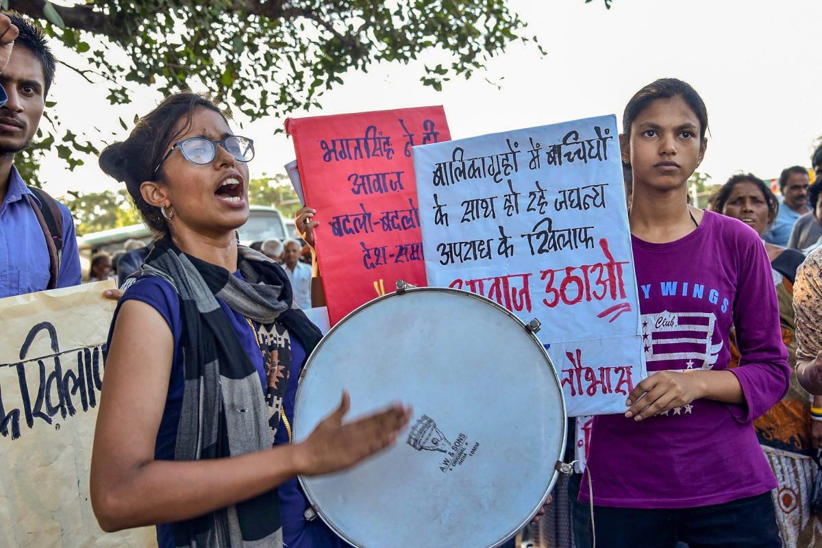 Naujawan Bharat Sabha members raise slogans during a protest against the Muzaffarpur shelter home alleged rape case, in Patna on Thursday, Aug 9, 2018. (PTI File Photo)
