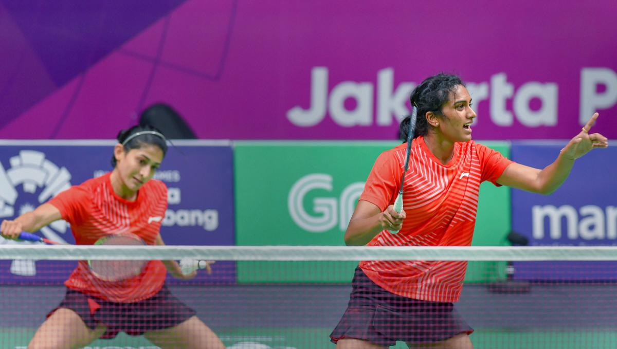 India's Ashwini Ponnappa and PV Sindhu en route to their loss in the women's doubles fixture. PTI