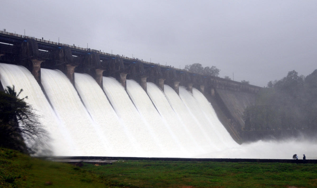 A large volume of water is being released from the Linganamakki dam in Sagar taluk of Shivamogga district.