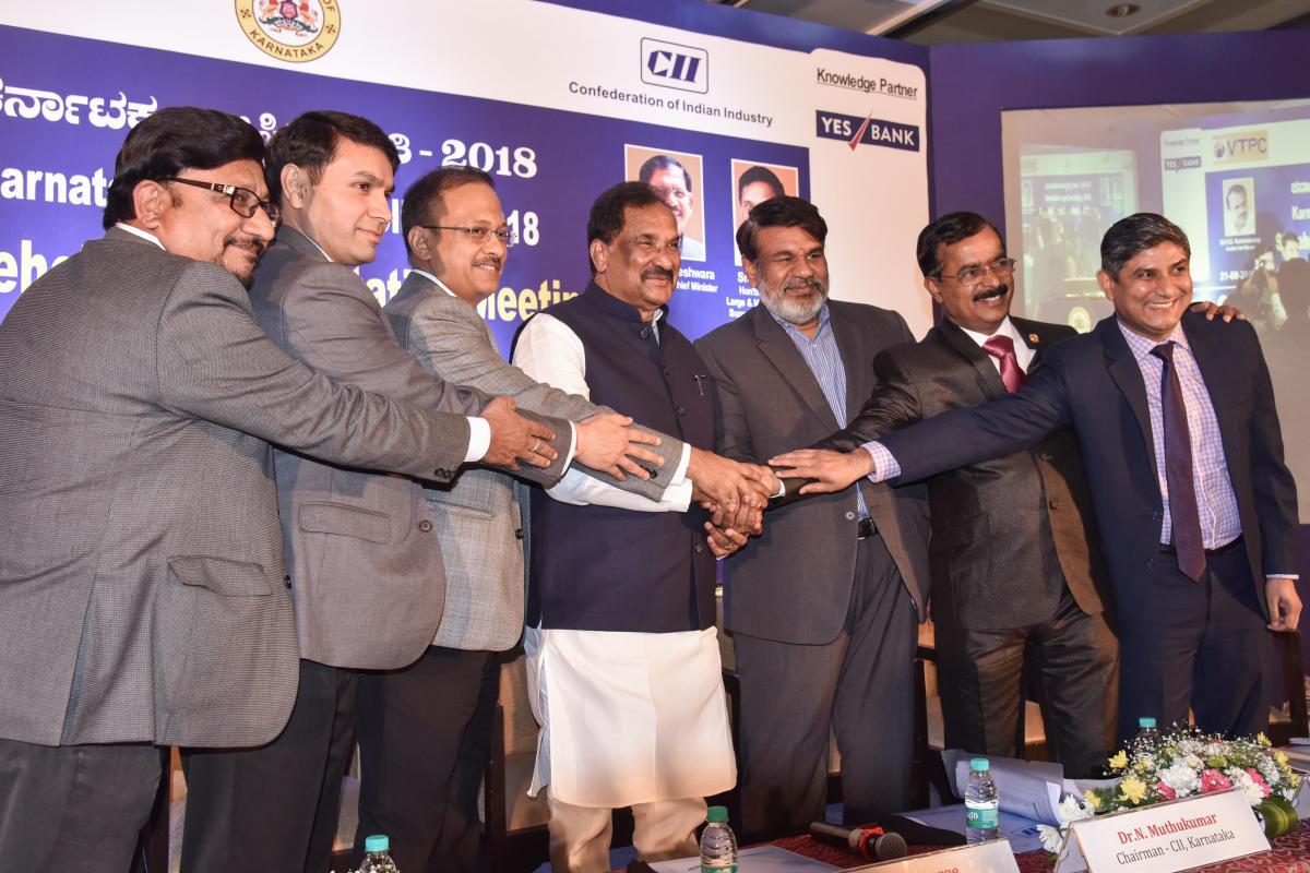 (From left) Basavarj S Javali, President, KASSIA, Darpan Jain, Commissioner for Industrial Development and Director of Industries and Commerce, Gaurav Gupta, Principal Secretary, Department of Industries and Commerce, IT&BT and S&T, K J George, Mi